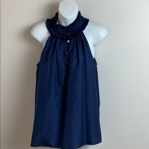 JCrew Navy Silk Pleated Ruffle Neckline Top